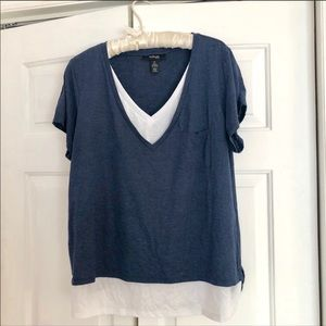 Style & co plus size blue vneck layered top